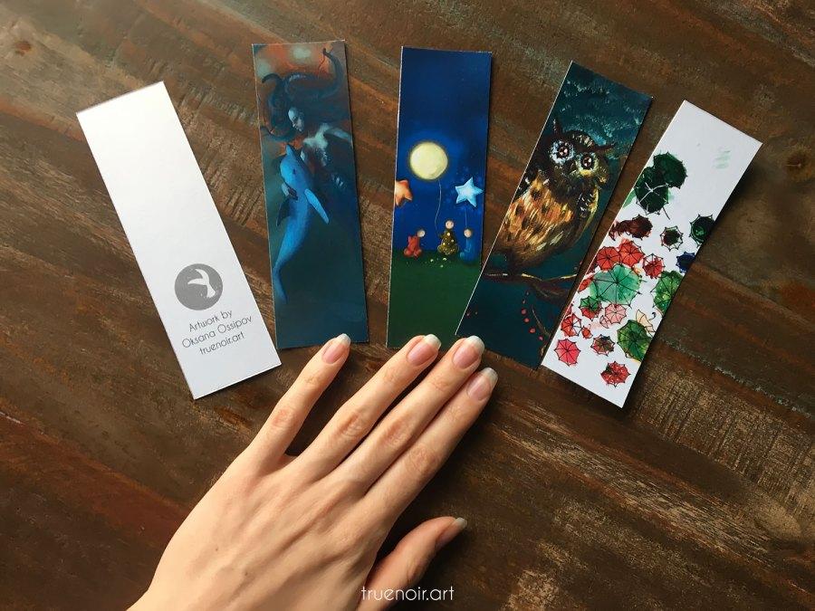 Unlaminated Unique Bookmarks with art by Oksana Ossipov