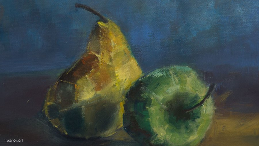 Stormy Apple and Pear, painting process