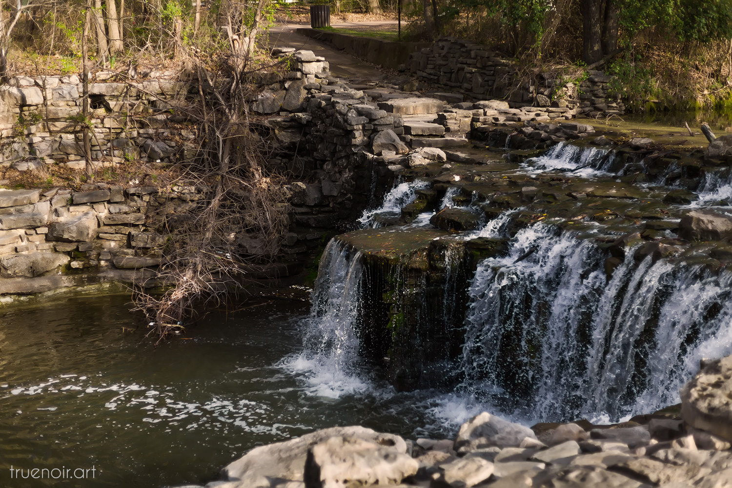 Photograph of a small waterfall found in Richardson, TX