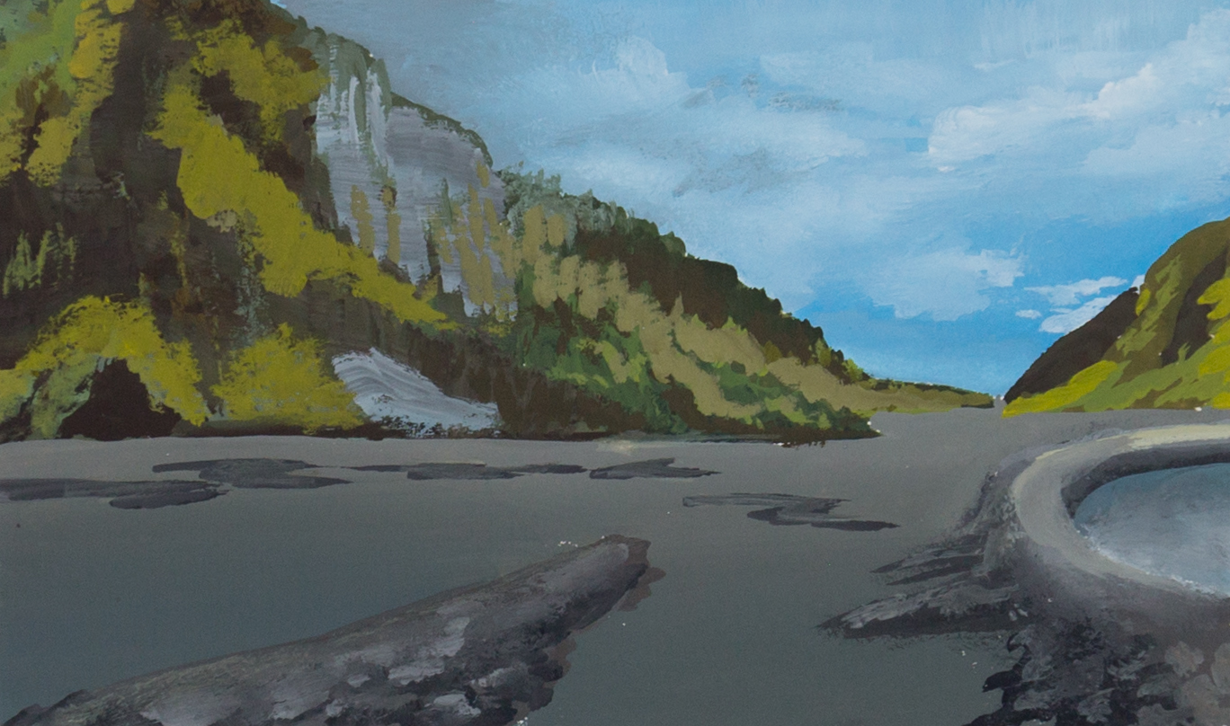 Color study of mountain and river in gouache.