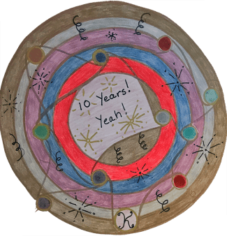 Congratulations on ten great years, Kathryn. I have learned so much from you about the healing power of art and of mandalas in particular. Thank you with all my heart. Anne Agee, Maryland, USA