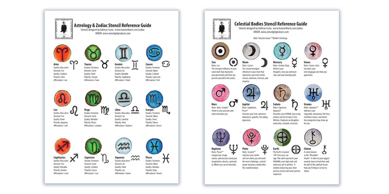 Astrology Zodiac Stencil Reference Guide