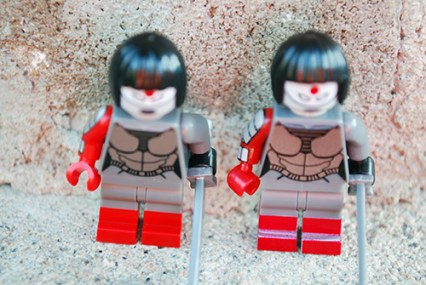 LEGO (left) and FLEGO (right) Katana - FLEGO version has painted on boots, and the paint job is poor.