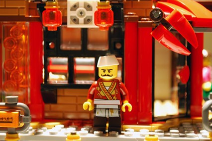 Outside the crab restaurant in LEGO Ninjago City.