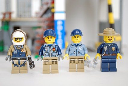 LEGO Mountain Police Headquarters - front view of officers.