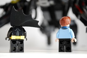 Rear view of Batman and Dick Grayson from the LEGO Scuttler set.