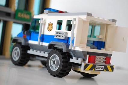 LEGO Bulldozer Break-in SWAT truck rear view.