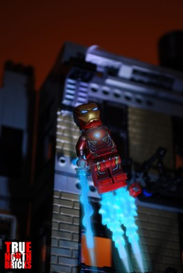 Iron Man blasting into action.
