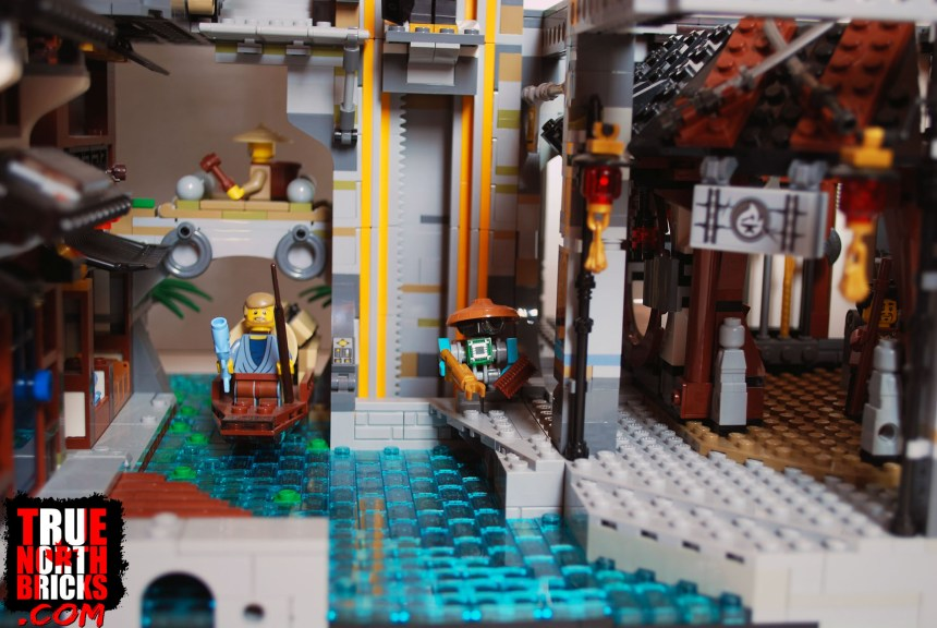 A rear view of the Ninjago City set, and how it connects to my expansion.