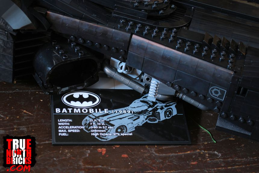 The 1989 Batmobile (76139) showing side detailing and the rotating display base.