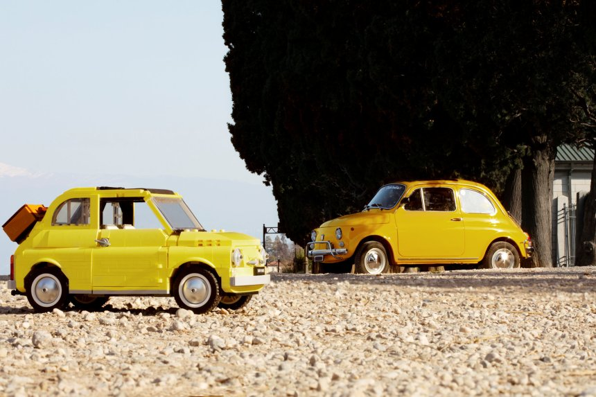 Fiat 500 (10271) model and real car.