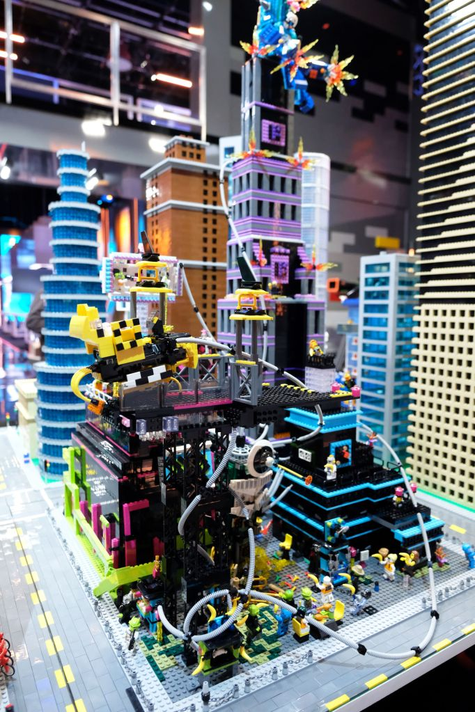 Krystle & Amie built Cyber Punk City in the Mega City Block Challenge (©2020 FOX MEDIA LLC. CR: Ray Mickshaw/FOX).