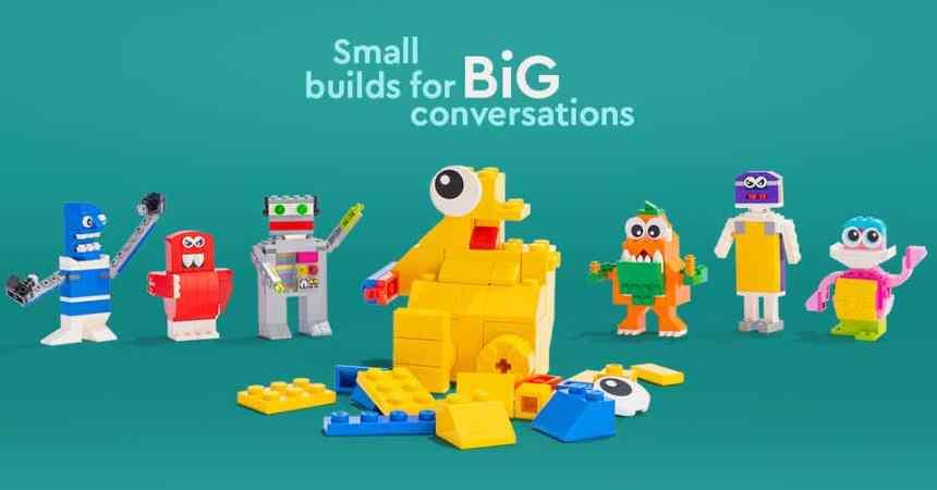 LEGO® Build and Talk slogan: Small Builds for Big Conversations.