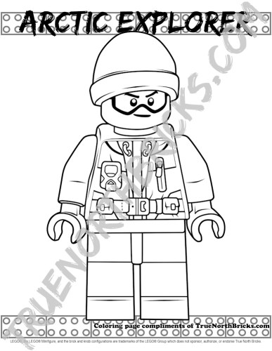 Arctic Explorer Minifigure Monday coloring page sample.