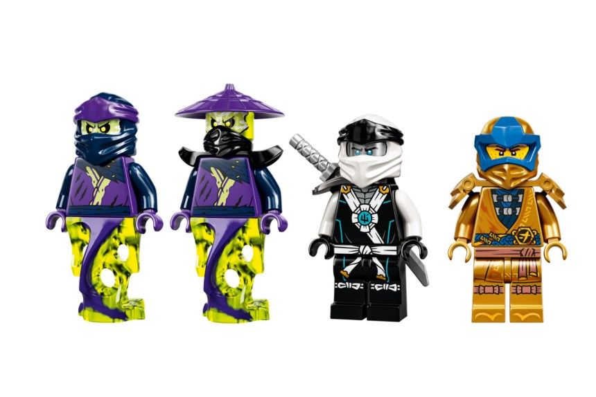 January 2021 Ninjago sets: Zane's Titan Mech Battle Minifigures.