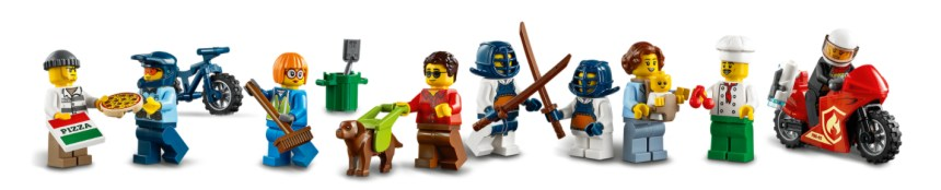 January 2021 City sets: Town Center minifigs.