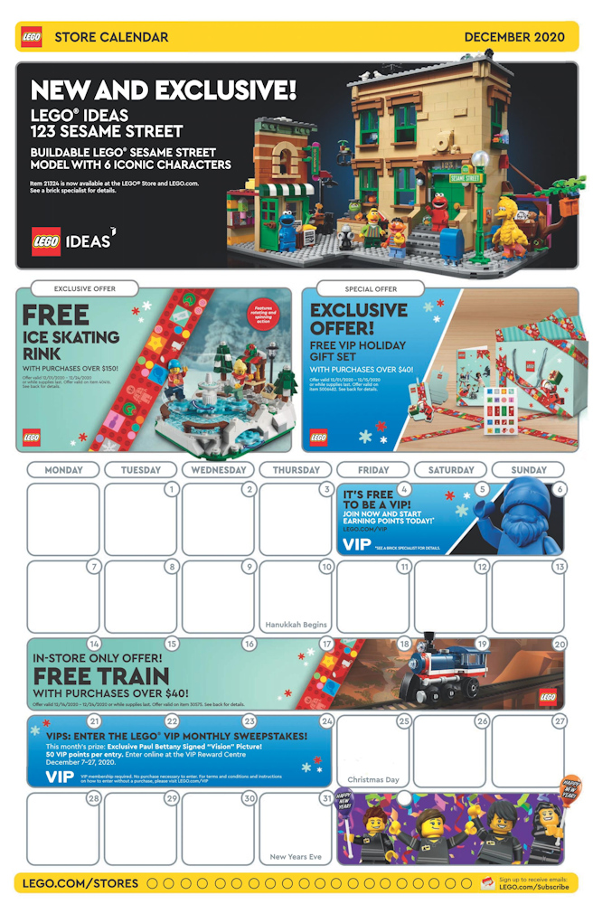 December 2020 Calendar from the LEGO Store.