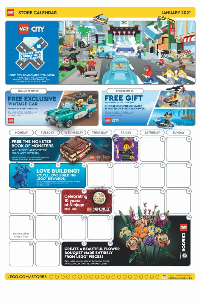 January 2021 calendar from the LEGO Store.