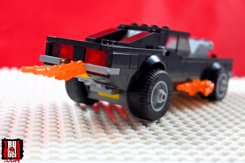 Rear view of Ghost Rider's car.