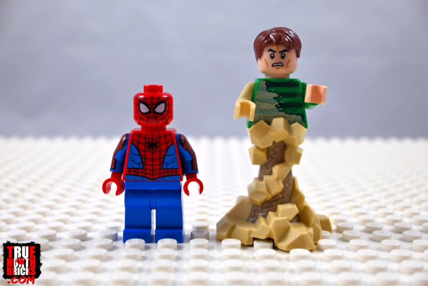 Spider-Man and Sandman Minifigures, front view.