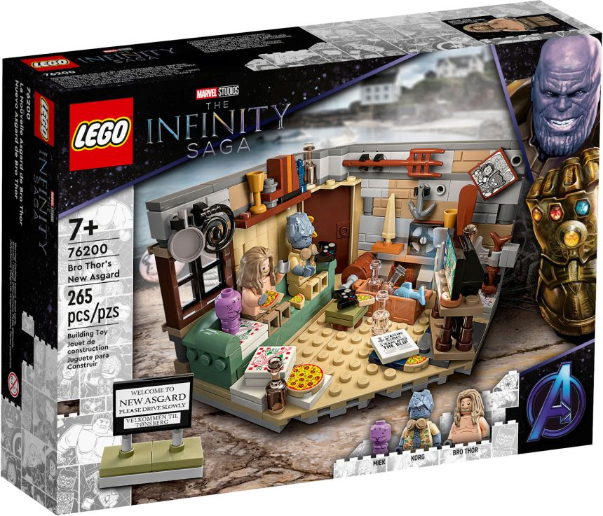 Bro Thor's New Asgard Box Art showing an image of the set, characters and piece count