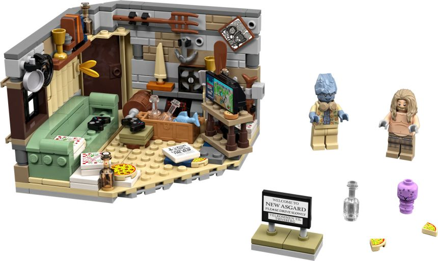 Bro Thor's New Asgard (76200) fully built with living interior and characters Thor, Korg and Miek