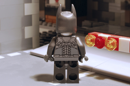LEGO Batman, unarmoured rear view.