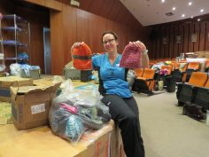 Knitted hats from Canada donated for the patients by Ellen and her friend Christina from Unit 64 (Foothills Hospital)