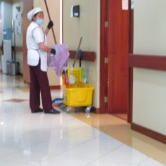 Cleaning staff of the Santa Ines - continually on the job.