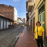 Recovery nurse, Judy Wardale on a street in old town Cuenca