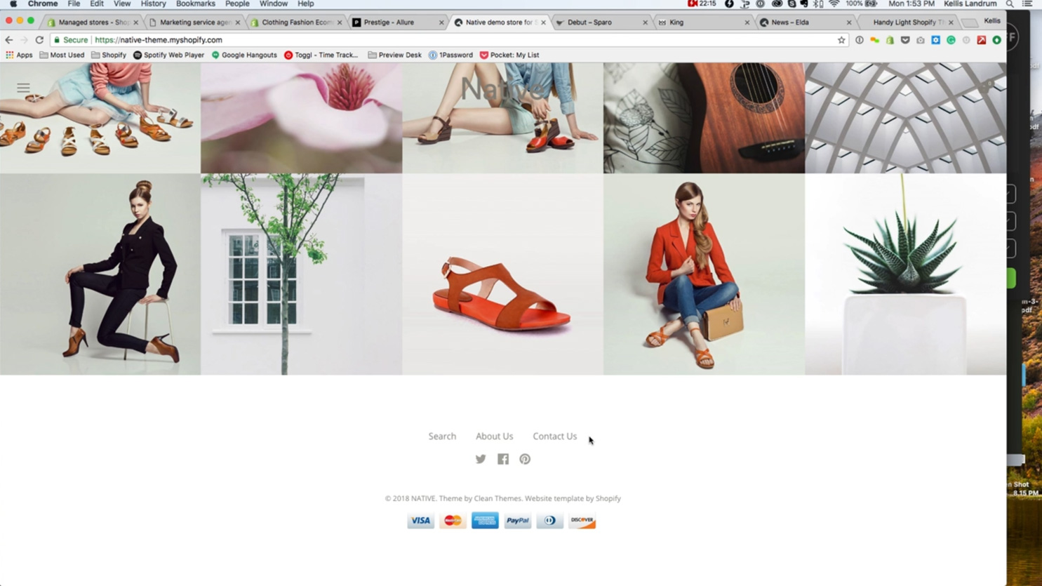 e-commerce website headers and footers