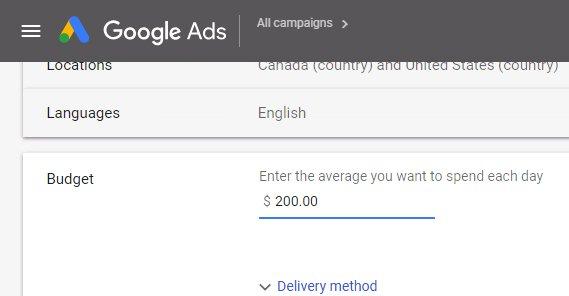 Ads Budget