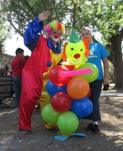 Anna poses with the clown, she is an important part of the True Path Ministry team.
