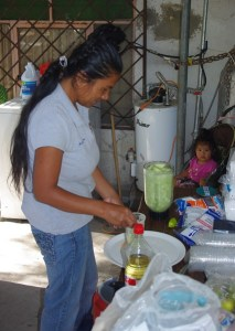 Others joined in to prepare the food.