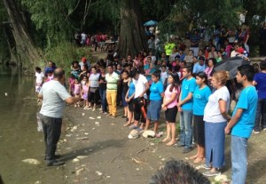 There were many Christians who witnessed the baptisms.