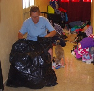 Tonyia went through 25 bags of clothes sorting them by size and gender. We will give them out over the next few months.