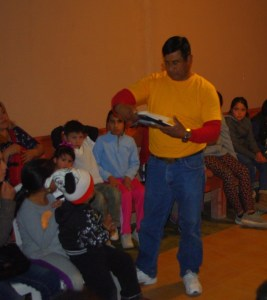 When teacher Yessi is gone (she was ill this week) Martin teaches the Bible lesson.