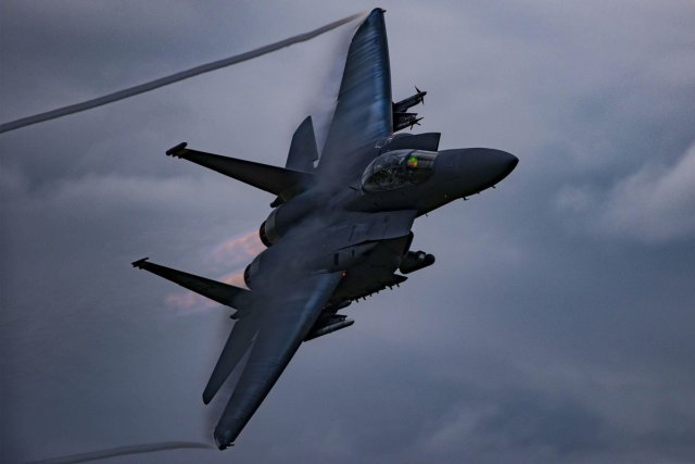 an-f-15e-strike-eagle-soars-above-grand-bay-bombing-and-gunnery-range-at-moody-air-force-base