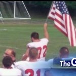 HS Football Player Raises American Flag When He Sees School Doesn't Have One