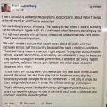 Zuckerberg Defends Keeping Peter Thiel in Leaked Facebook Memo