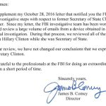 FBI Director Comey Says agency has not changed its July conclusion regarding Hillary Clinton's use of personal email server