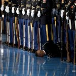 Member of Obama's honor guard passes out during his farewell speech