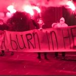 VIDEO: Activists unfurl 'Obama burn in hell' banner outside US embassy