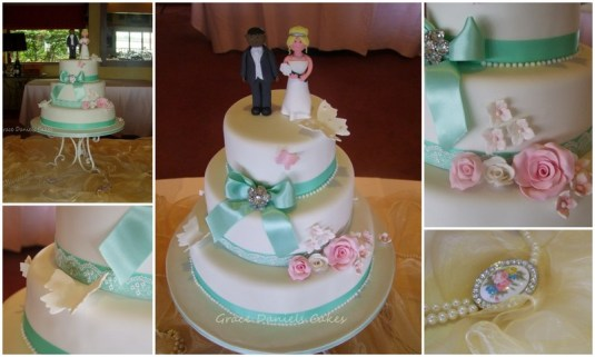 Tiffany Blue Floral Wedding Cake