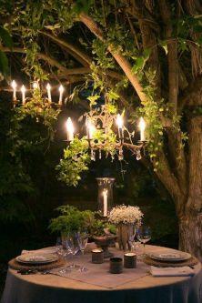 Woodland wedding outdoor chandelier