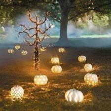 Halloween wedding theme carved pumpkin lanterns