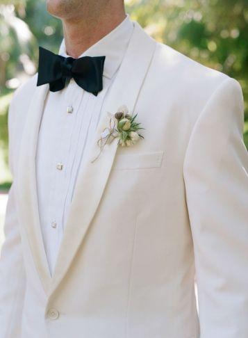 Monochrome wedding ideas white cream tuxedo groom