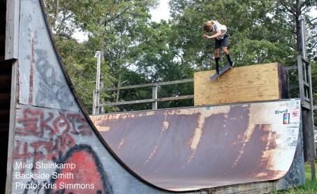 Back Smith, photo by Kris Simmons, Hampstead NC Skate Barn
