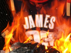 LeBron's Cavaliers jersey is burned by angry fans