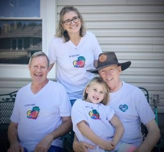 Family wearing Truest Heart white T-Shirts